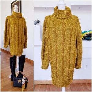 Gold Sparkly Oversized Sweater Dress